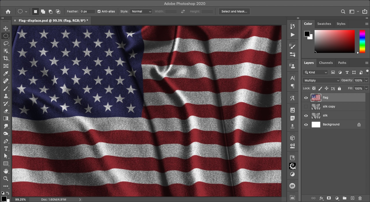 A screen shot of the rippled flag we're creating in this Photoshop tutorial